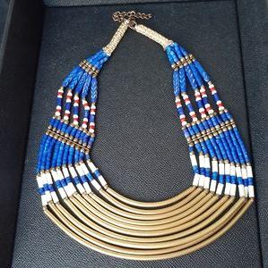 Native American carved bone multi-strand necklace